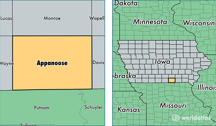 location of Appanoose county on a map