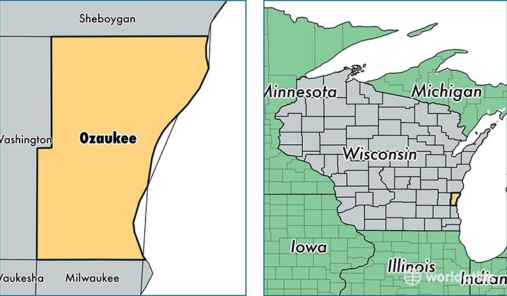 location of Ozaukee county on a map
