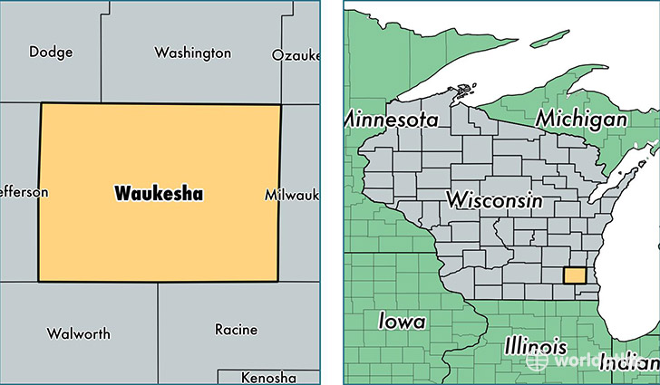 location of Waukesha county on a map