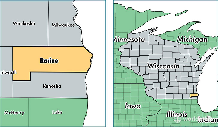 location of Racine county on a map