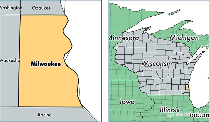 location of Milwaukee county on a map