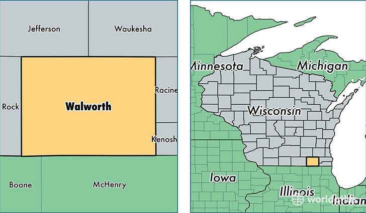 location of Walworth county on a map