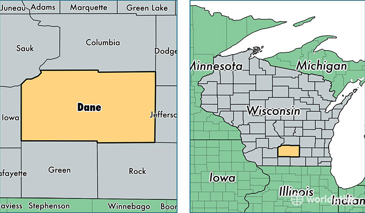 location of Dane county on a map