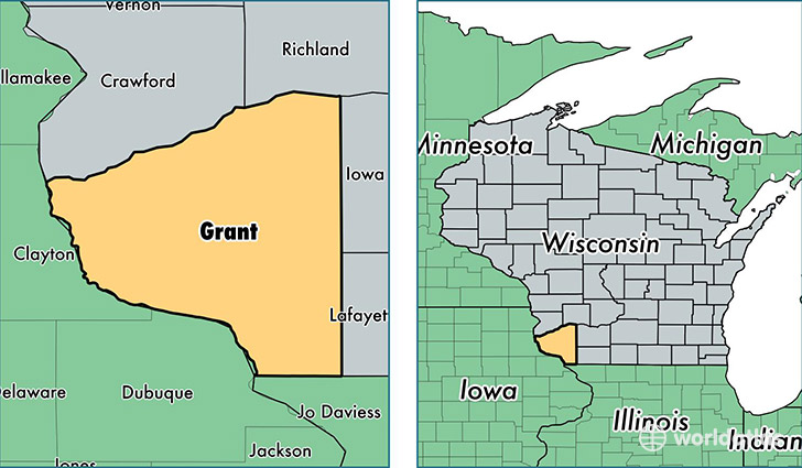 location of Grant county on a map