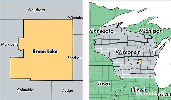 location of Green Lake county on a map