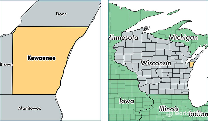location of Kewaunee county on a map