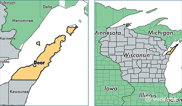 door county wisconsin map of door county wi where is door
