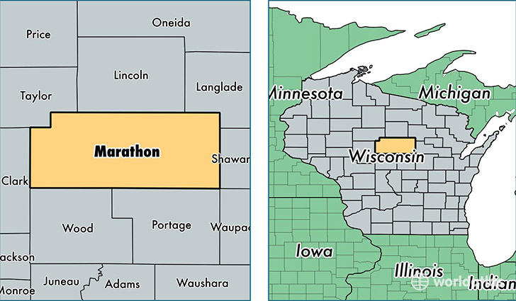location of Marathon county on a map
