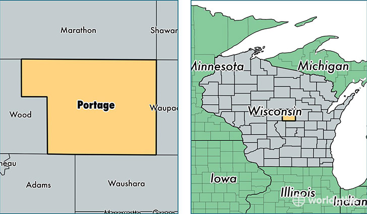 location of Portage county on a map