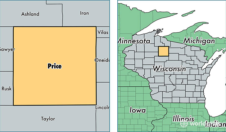 location of Price county on a map