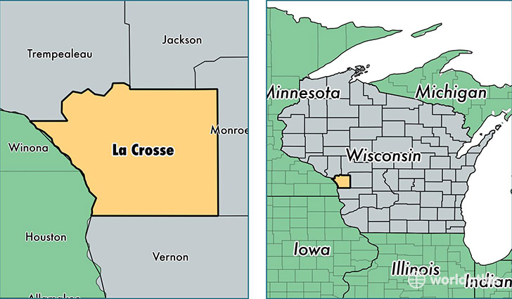 location of La Crosse county on a map