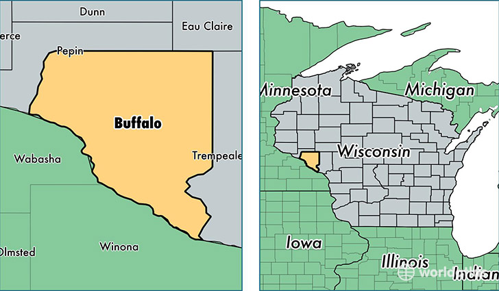 location of Buffalo county on a map