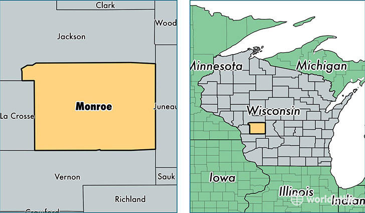 location of Monroe county on a map