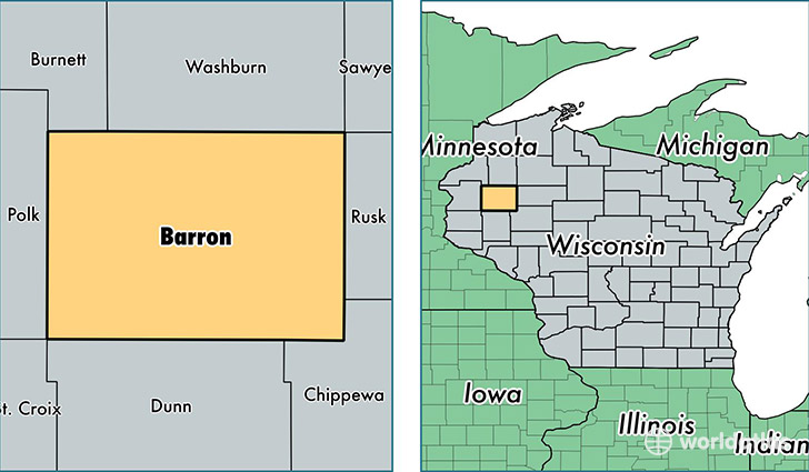 location of Barron county on a map