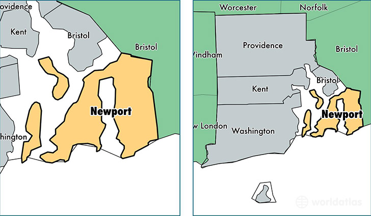 location of Newport county on a map