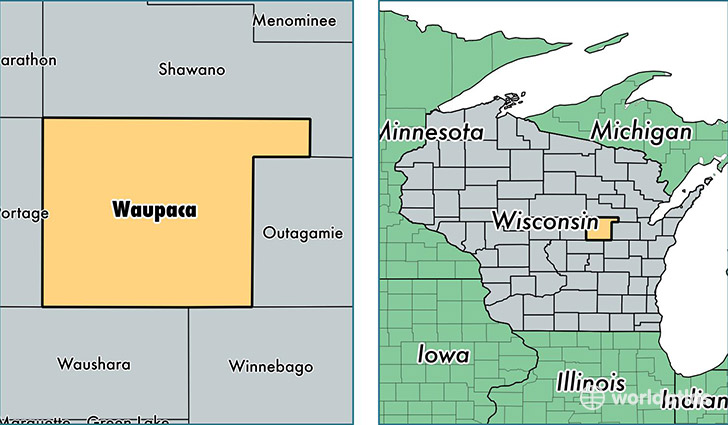 location of Waupaca county on a map