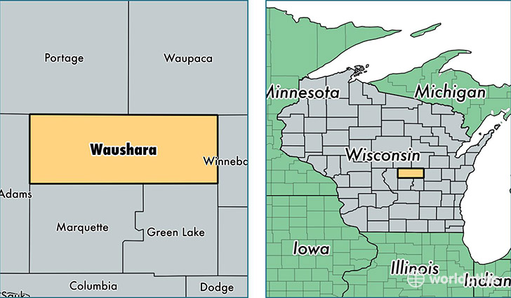 location of Waushara county on a map
