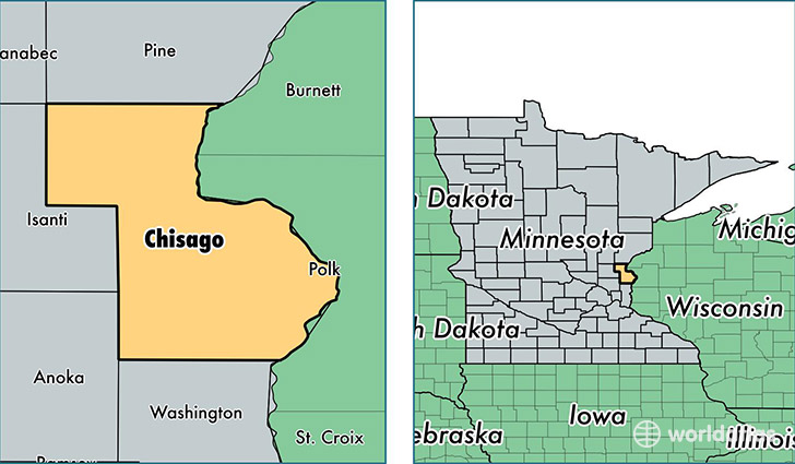 location of Chisago county on a map