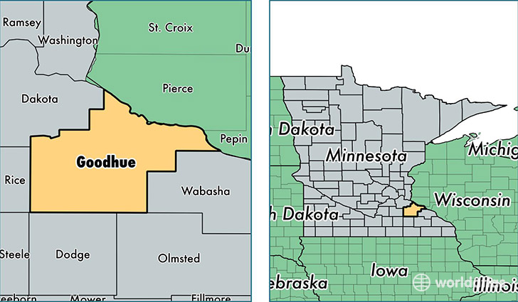 location of Goodhue county on a map