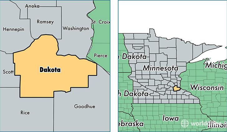 location of Dakota county on a map