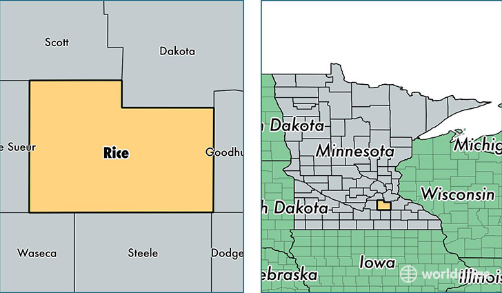 location of Rice county on a map