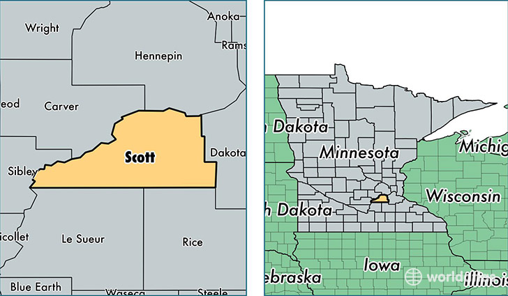 location of Scott county on a map