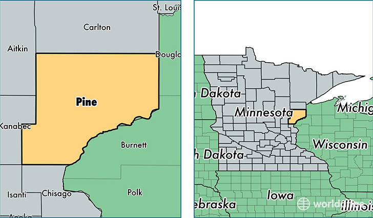 location of Pine county on a map