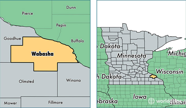 location of Wabasha county on a map