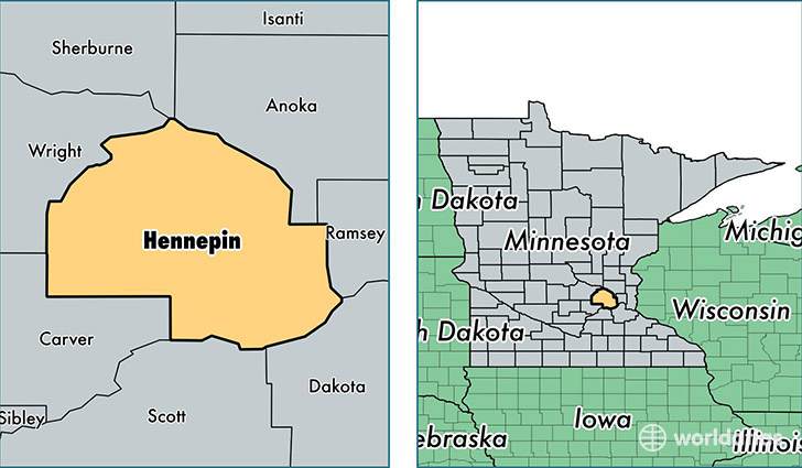 location of Hennepin county on a map