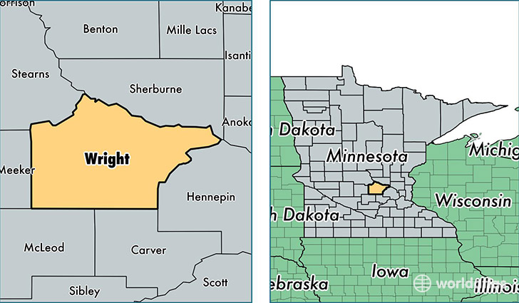 location of Wright county on a map