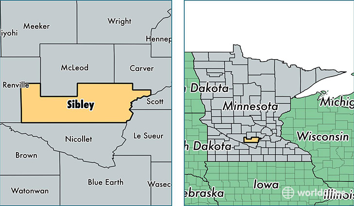 location of Sibley county on a map