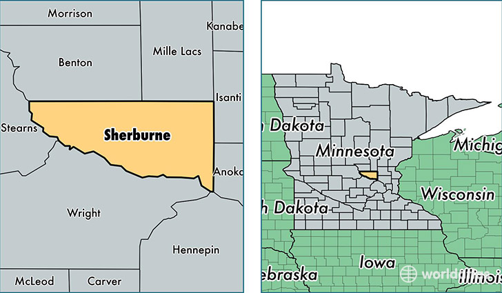 location of Sherburne county on a map
