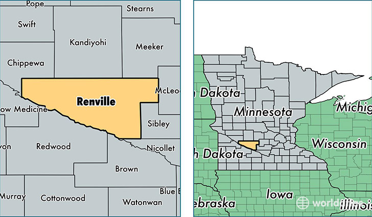 location of Renville county on a map