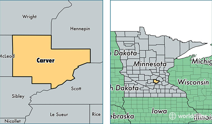 location of Carver county on a map