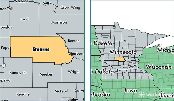 location of Stearns county on a map