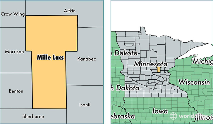location of Mille Lacs county on a map