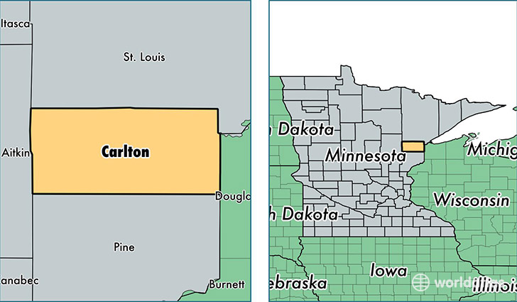 location of Carlton county on a map