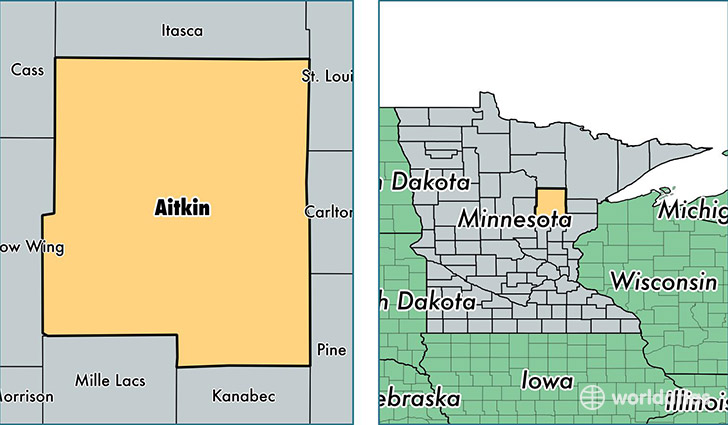 location of Aitkin county on a map