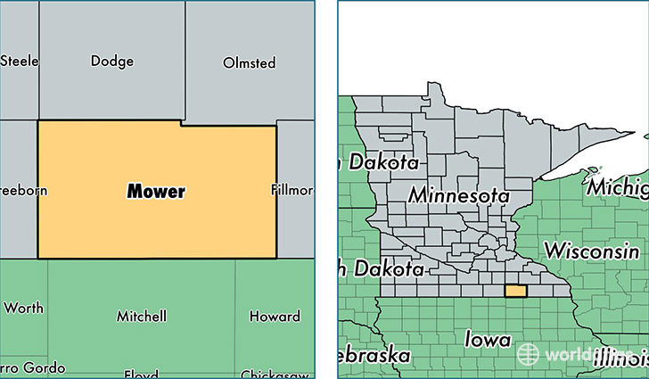 location of Mower county on a map