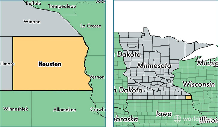 location of Houston county on a map