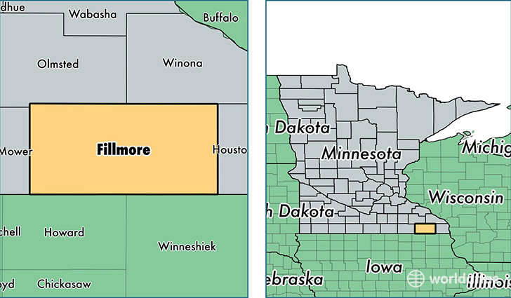 location of Fillmore county on a map
