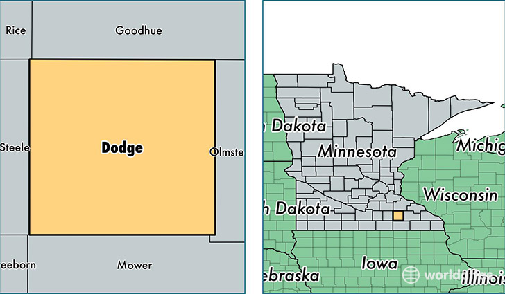 location of Dodge county on a map