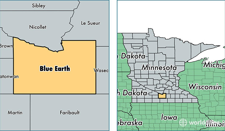 location of Blue Earth county on a map