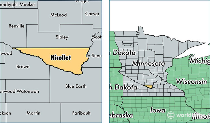location of Nicollet county on a map