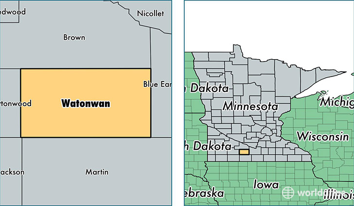 location of Watonwan county on a map
