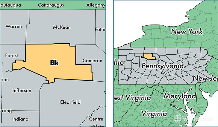 location of Elk county on a map