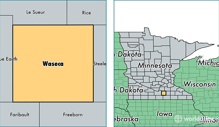 location of Waseca county on a map