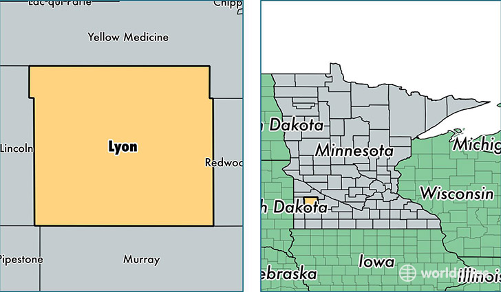 location of Lyon county on a map