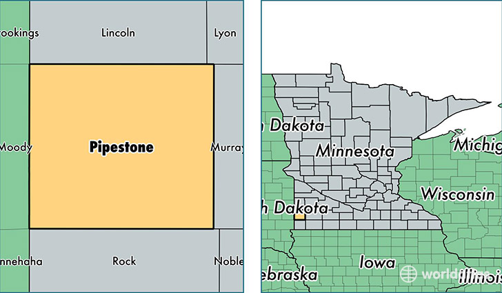 location of Pipestone county on a map