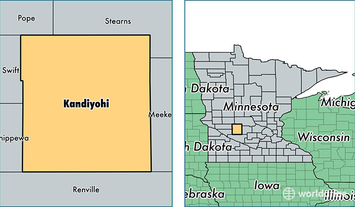 location of Kandiyohi county on a map